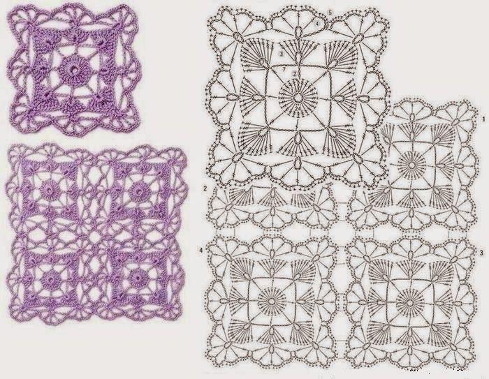 Quadradinhos Rendados De Crochê   Manta, Ganchillo y Patrones