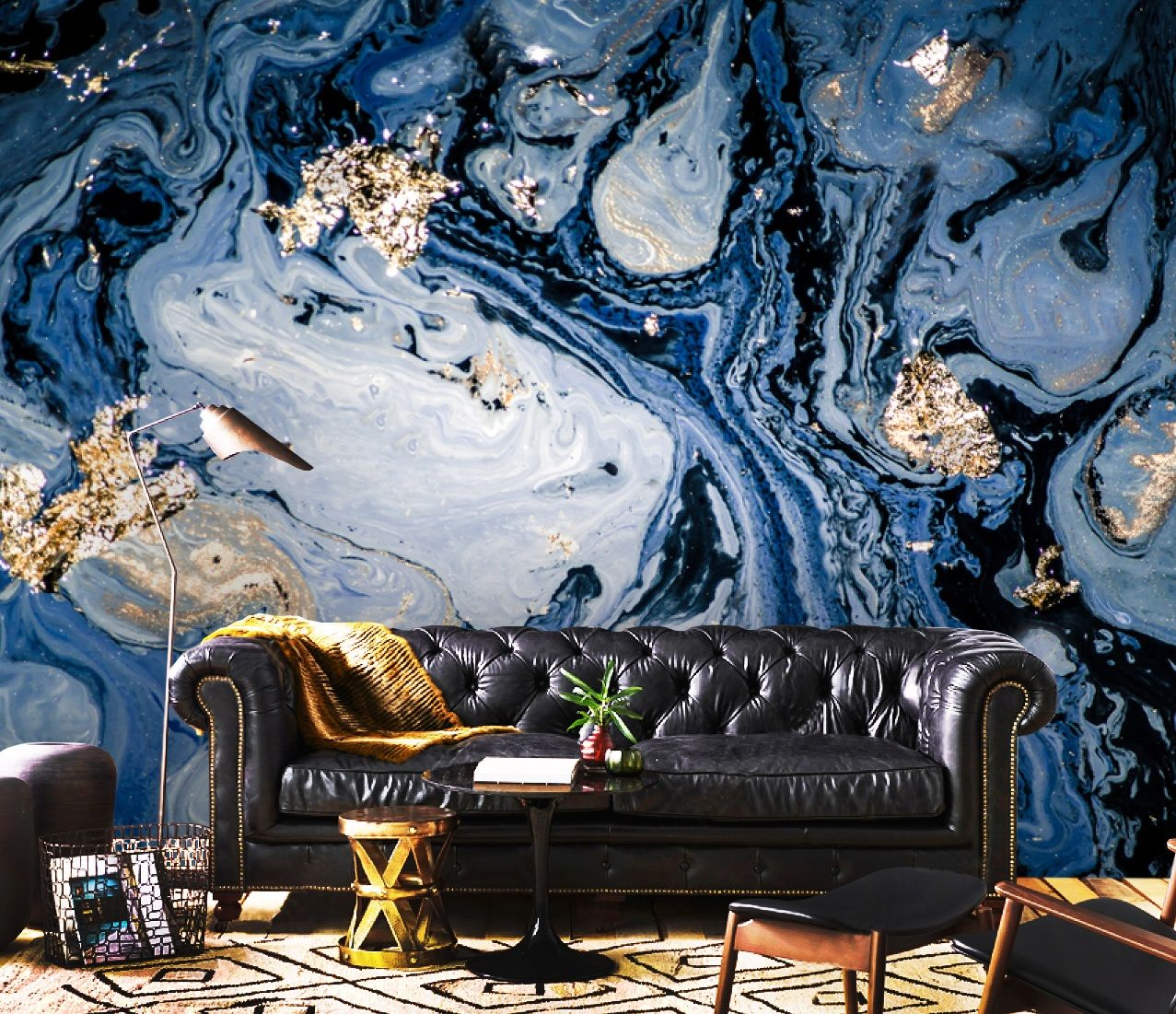 Wallpaperadhesive Vinylsparklesgold Blueorientalpeel And Etsy Wallpaper Mural Adhesive Wallpaper