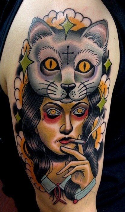 16 Gorgeous Neo Traditional Women Tattoos Cat Portrait Tattoos Cat Tattoo Trendy Tattoos