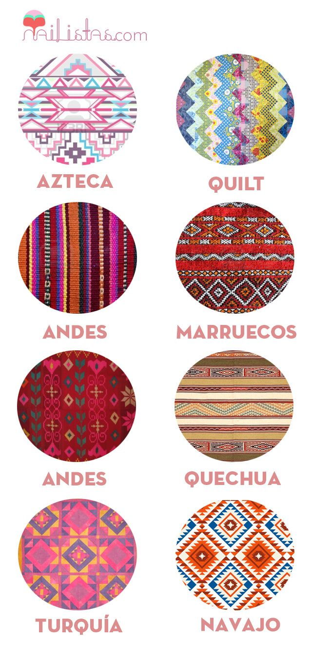 Tribal patterns prints examples: Turquia, Navajo, Andes, Quechua,  Marruegos, Aztec