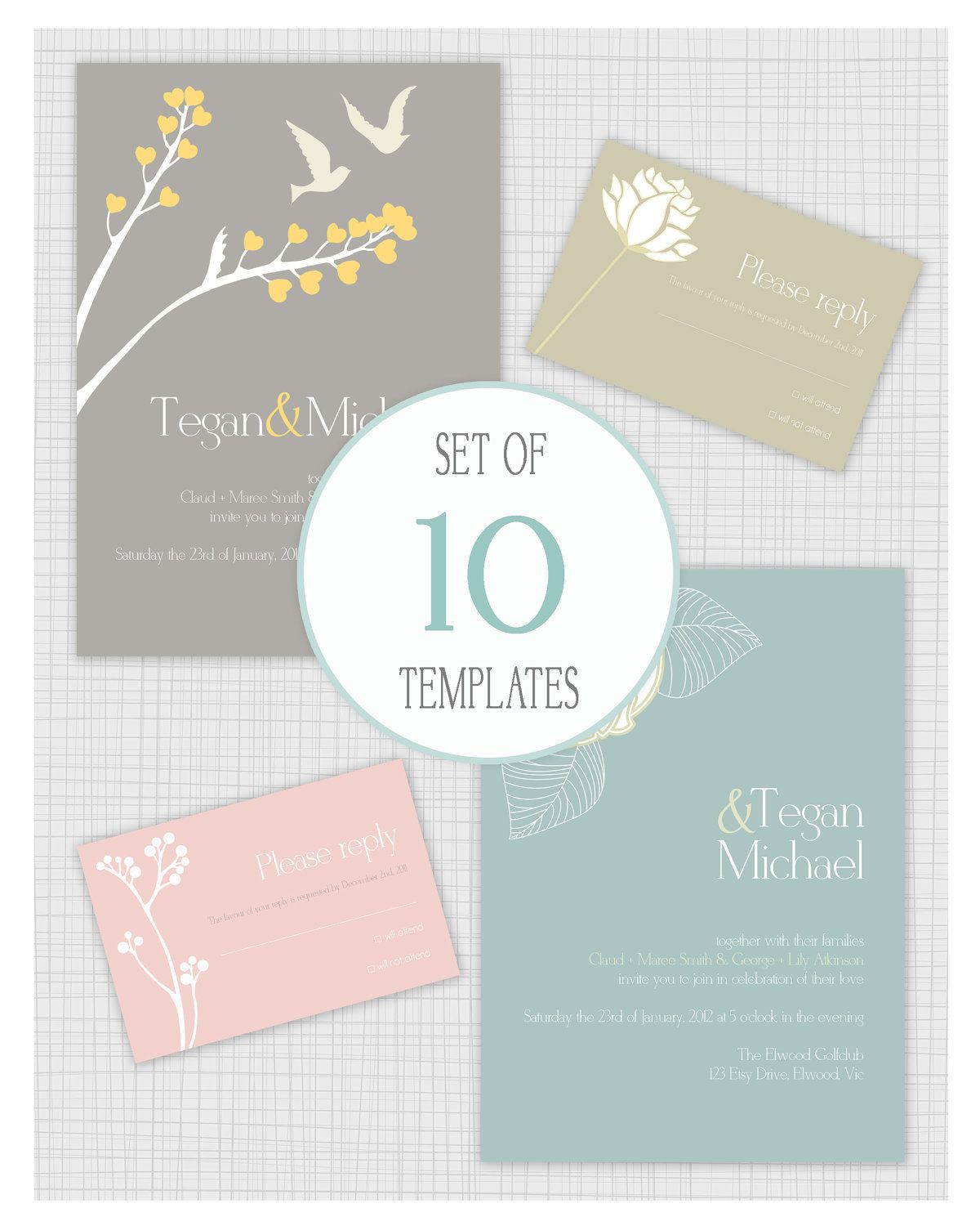 Wedding Invite Email Template: 10 PSD Wedding Invitation Templates. Matching Reply RSVP