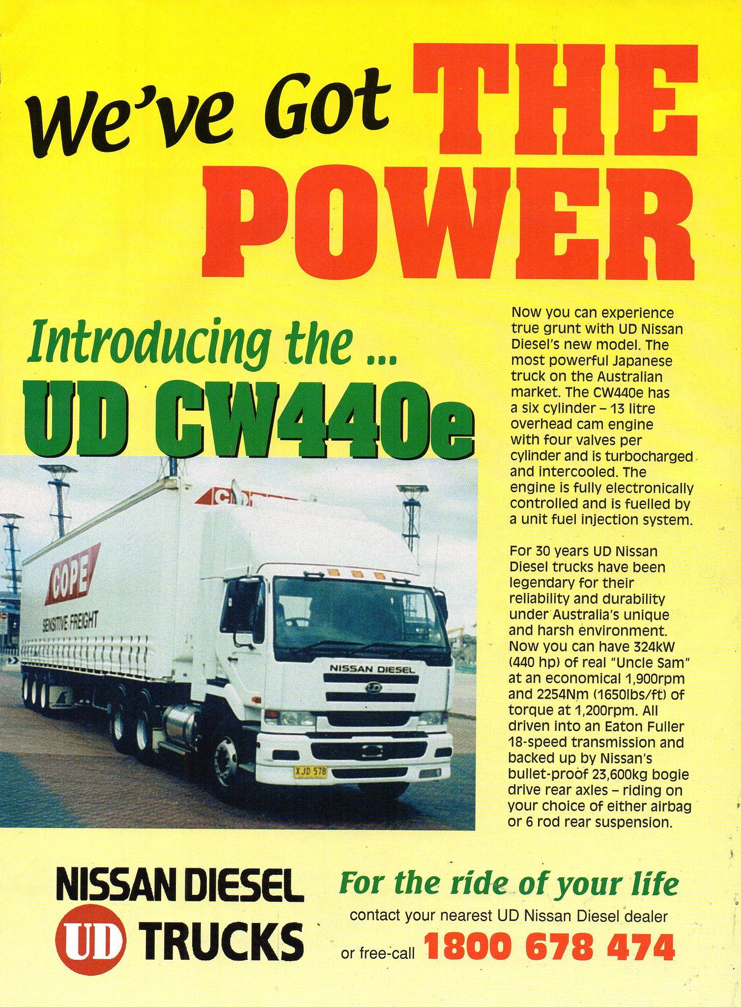 2002 Nissan Ud Cw440e Diesel Trucks Aussie Original Magazine Advertisement Nissan Diesel Trucks Trucks