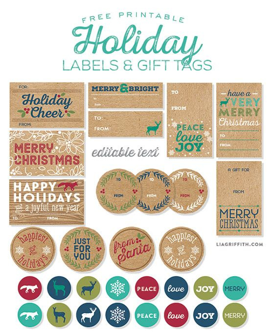 rustic holiday labels and tags to print computer and printables