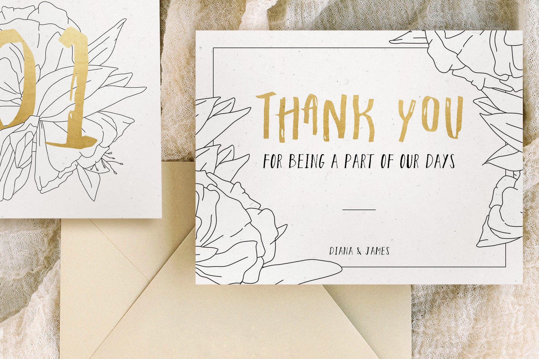 Simple Floral Outline Wedding Suite by BlueRobinDesignShop on @creativemarket
