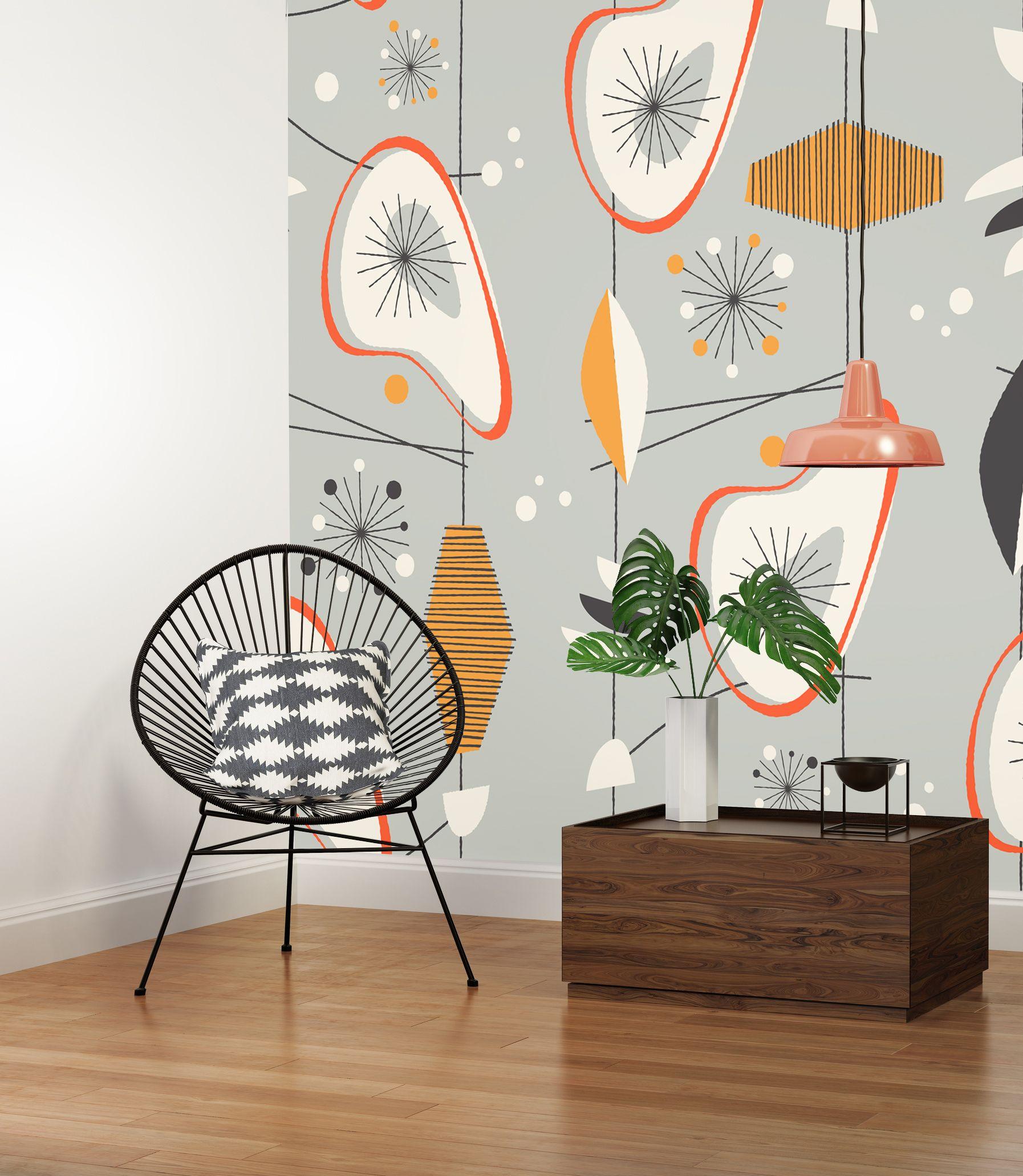 Modern wall murals modern wall coverings - 10 Sposob W Na Styl Mid Century Midcentury Wallpapermid Century Modern