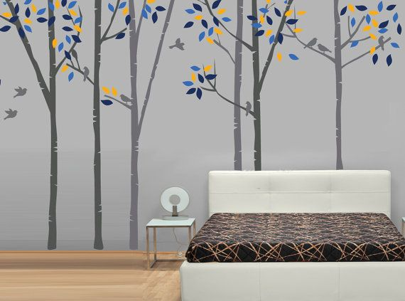 Birch Trees with Birds Fabric Wall Decal by StudioWallDecals