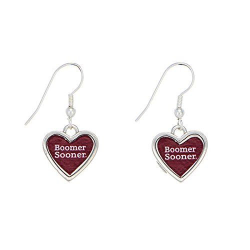 "NCAA Oklahoma Sooners 1"" Silver Tone Earrings Featuring a Heart Shape Inscribed with ""Boomer Sooner"" Judson http://www.amazon.com/dp/B00M03W698/ref=cm_sw_r_pi_dp_SgM4tb0FR9PJZ"