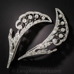 French Platinum Diamond Barrettes