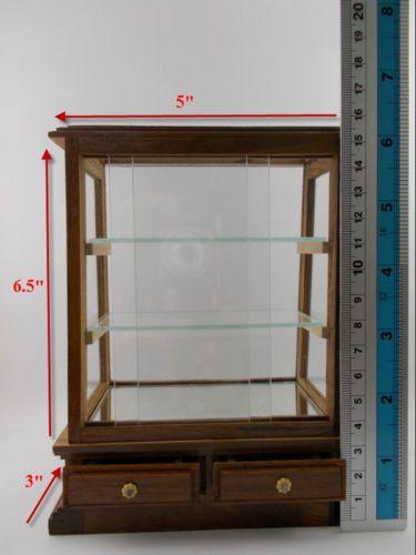 Small Vintage Teak Cabinet Cupboard Furniture Craft Drawers Shelves Carved