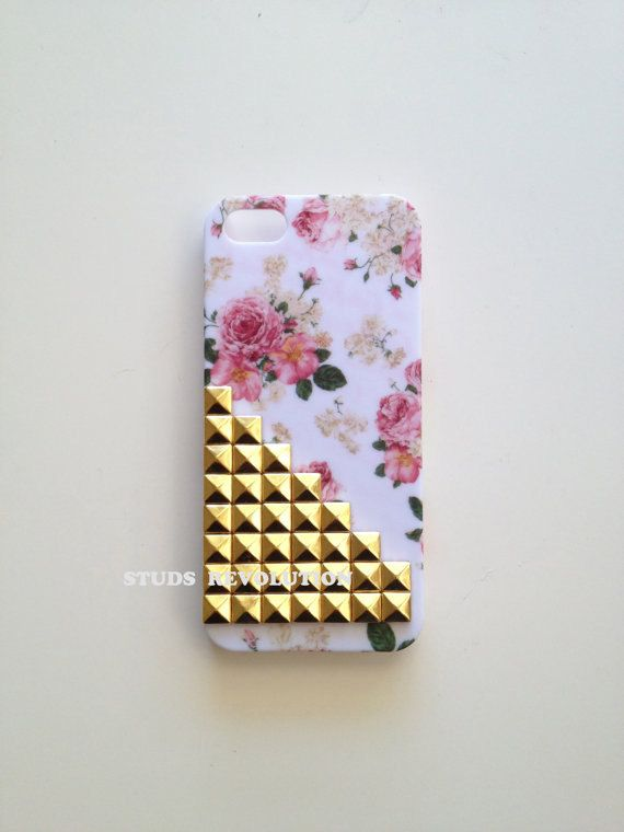 Studded Victorian mint floral white floral charcoal floral hard matte iphone 5 case with silver studs gold studs gunmetal studs. $18.99, via Etsy.