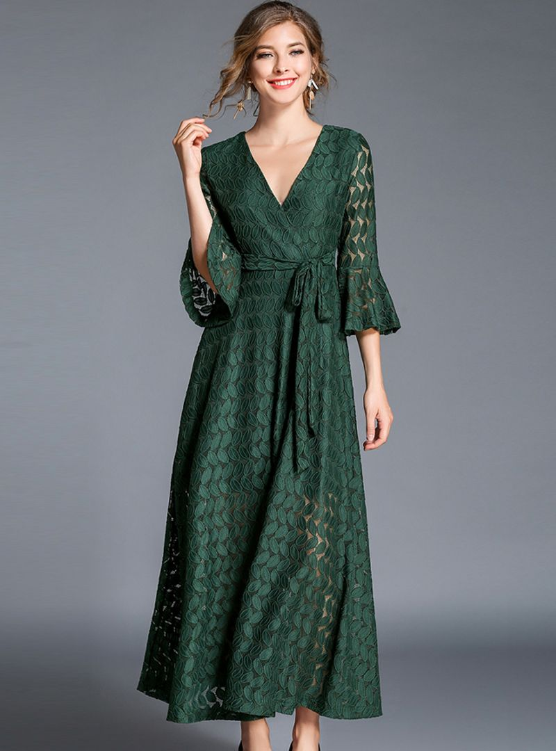 Brief vneck flare sleeve lace maxi dress from dresssure