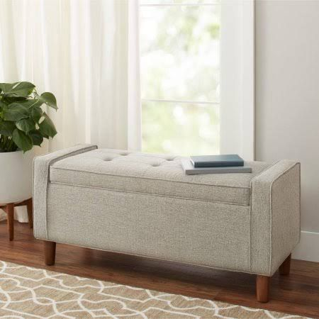 Better Homes and Gardens Flynn Mid Century Modern Upholstered Storage Bench, Ash, Gray