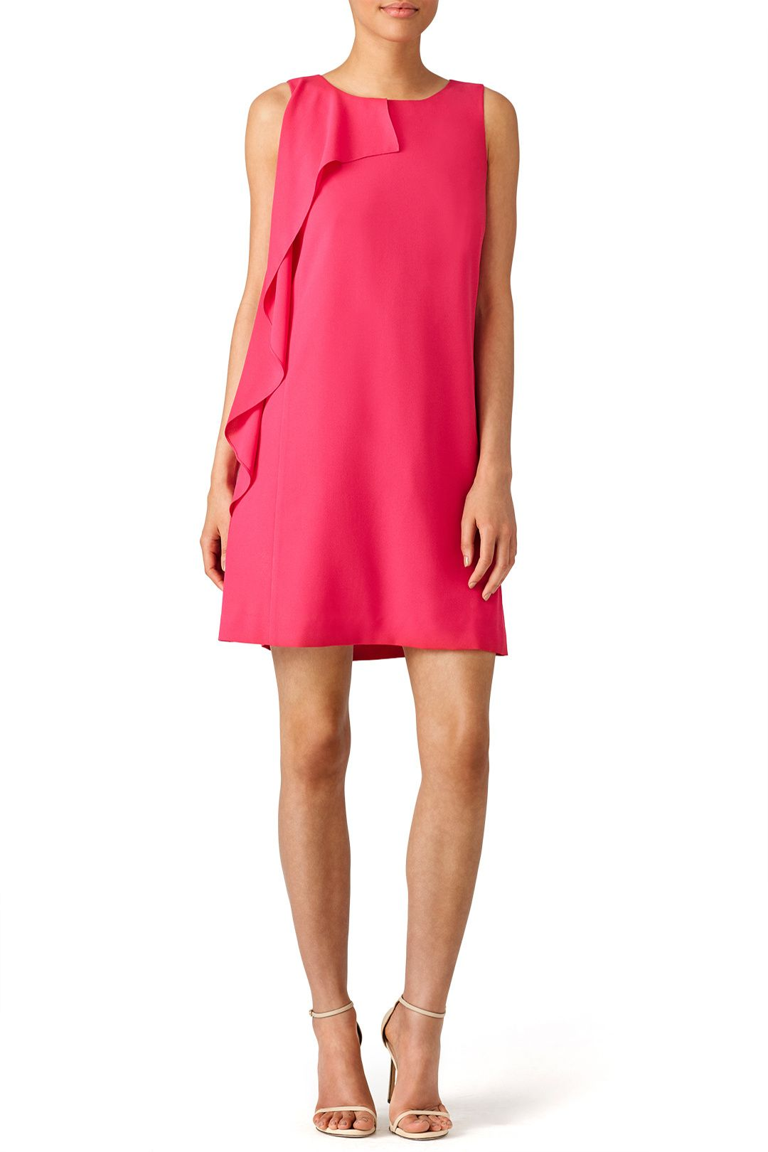 Hot pink cocktail dress with ruffle detail. Perfect for a summer ...
