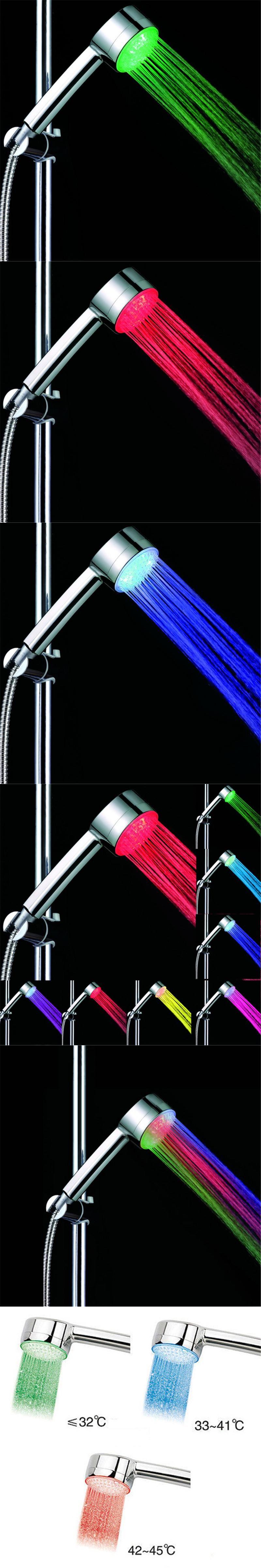50 Pcs LED Shower Head Control Romantic Bathroom Shower Head,Temperature  Control 3 Color Light