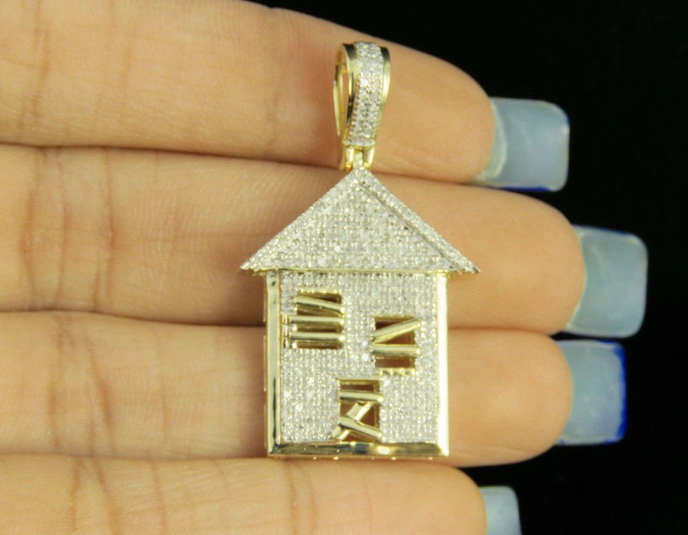 b529c2befbc909 Men's 14K Yellow Gold Finish Diamond Custom Trap House Pendant Charm 2.1/2  CT #TrapHousePendant