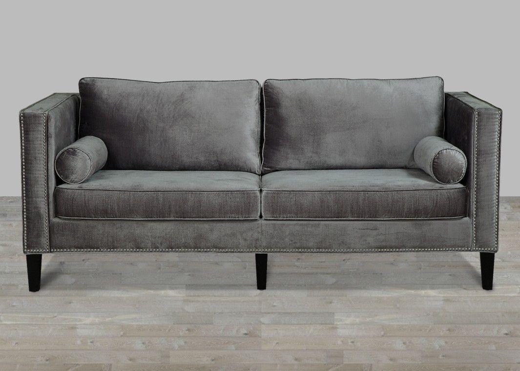 Nice Grey Nailhead Sofa Awesome 23 On Living Room Ideas With