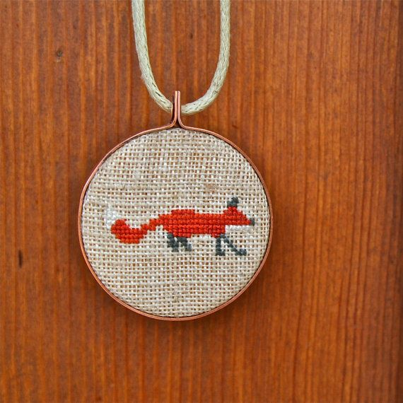 Cross Stitched Fox Embroidery Hoop Pendant by StitchAndSaw on Etsy