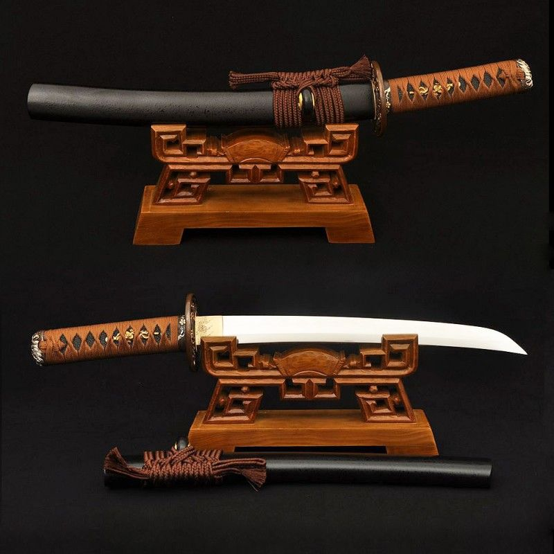 Hand Forged 1095 Steel Clay Tempered Blade Tanto Japanese Samurai Sword Dagger