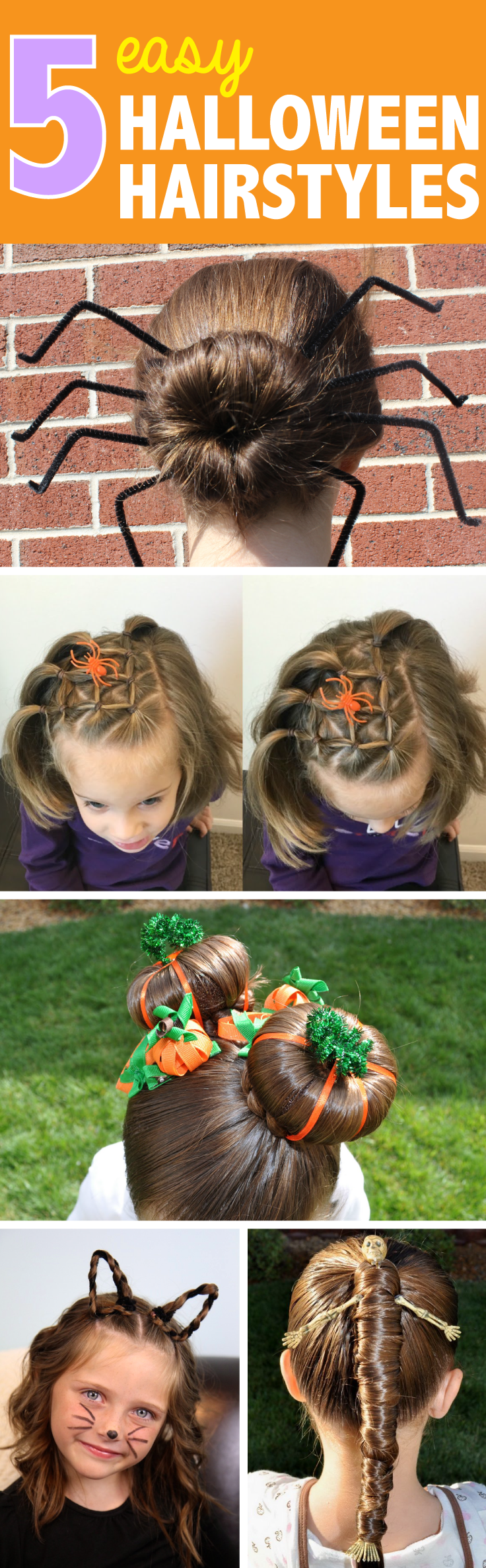 five easy halloween hairstyles for girls | trick or treating