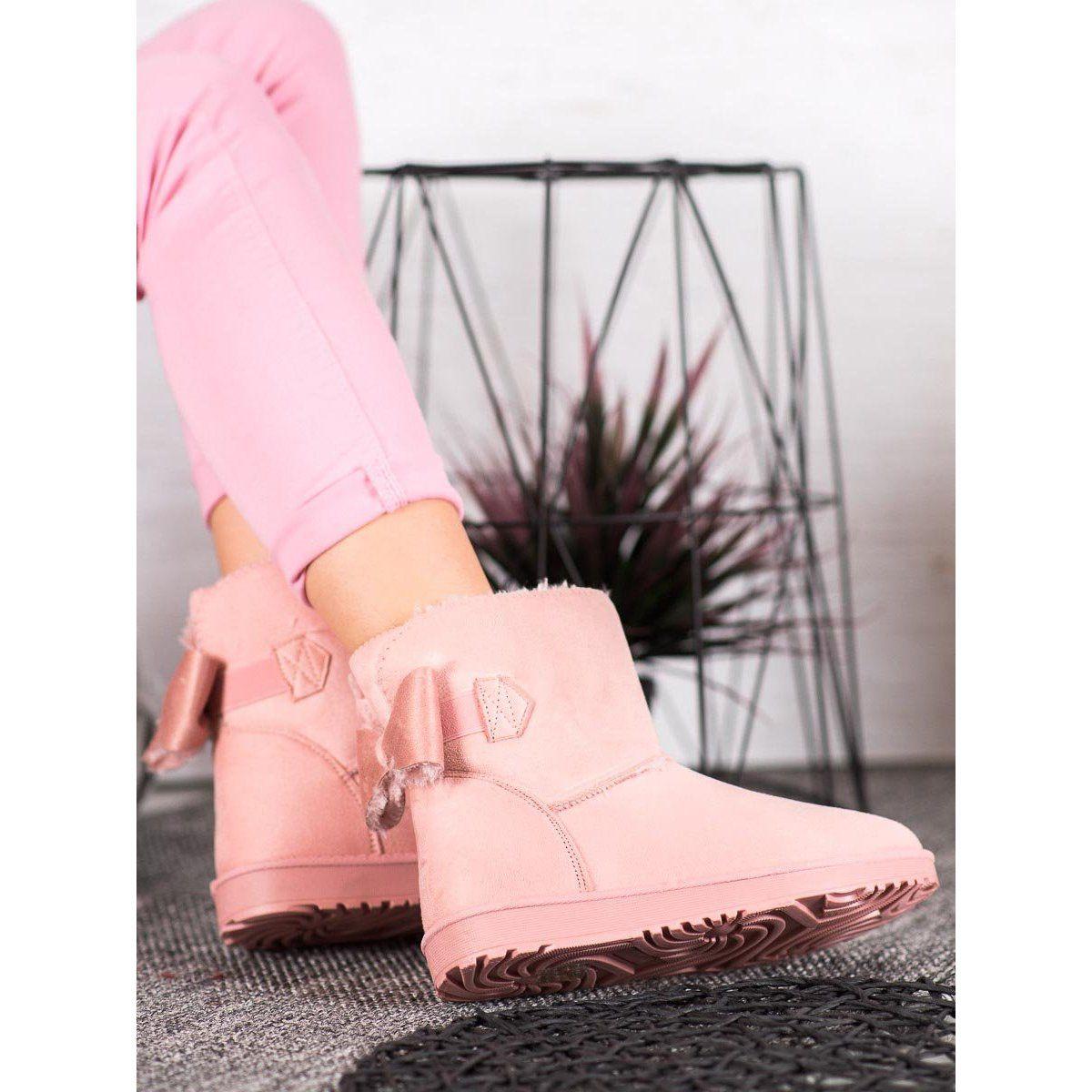 Shelovet Pudrowe Mukluki Z Kokarda Rozowe Timberland Boots Boots Ugg Boots