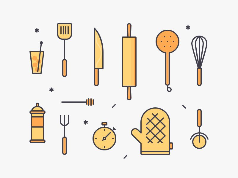 Kitchen Tools Illustration Freebies AI Free Graphic Design Illustration Kitchen PSD Resource Tools Vector