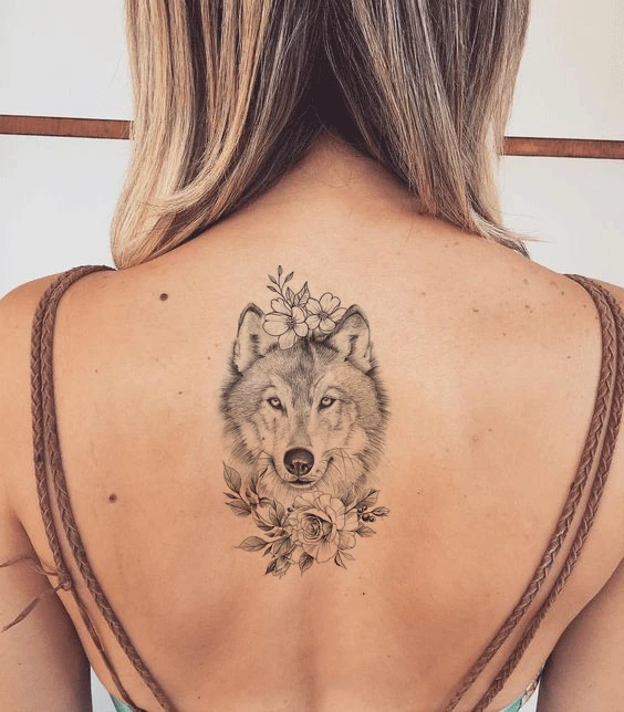 Wolf With Flowers Tattoo