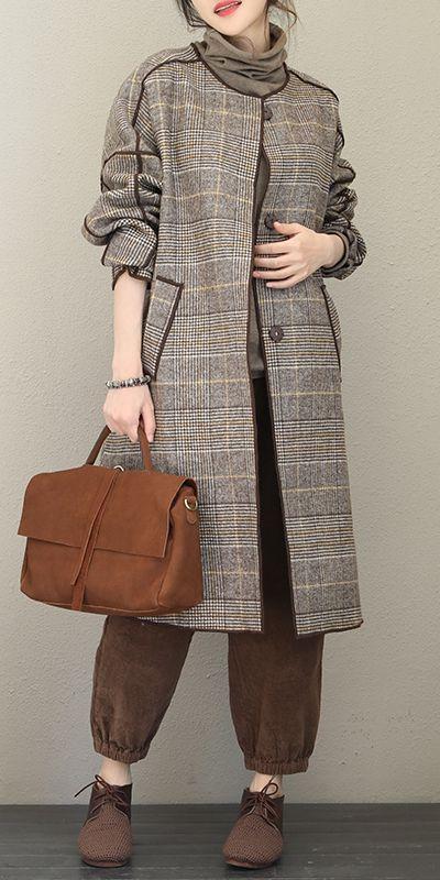 Fashion Quilted Gray Plaid Woolen Long Coat For Women Q1733 #modefürfrauen