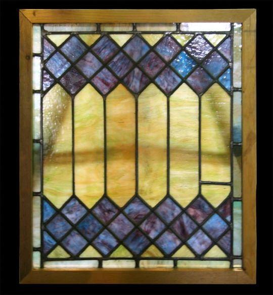 Stained Glass Window With Diamond Pattern Deep Blue Diamonds