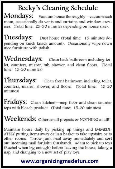 How To Have A Clean House In  MinDay Sample Schedule For