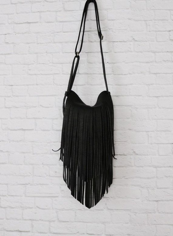 96e25594f248 Fringe Leather Boho Bag   Black Fringed by RusticMoonLeather