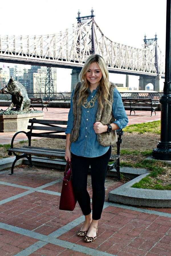Chambray shirt black leggings flats fur vest and a statement necklace. | Outfits I Own ...