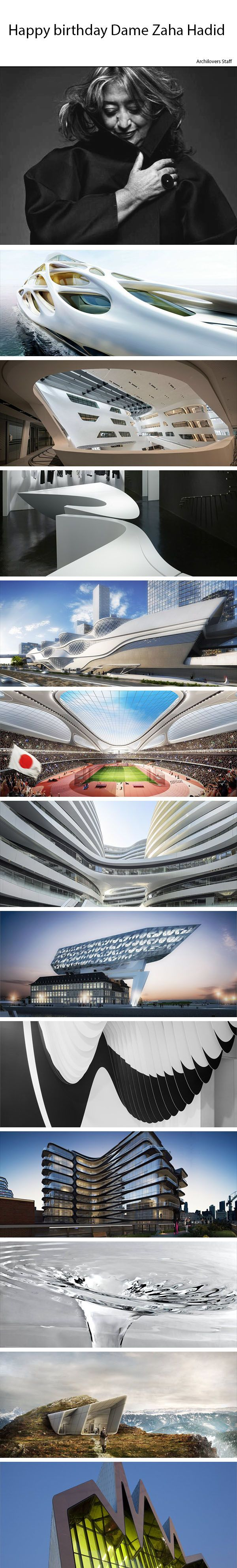 Happy birthday Dame Zaha Hadid!   Check out the 80 projects by Zaha Hadid Architects on Archilovers: http://www.archilovers.com/zaha-hadid/  #zahahadid #architects #architecture #legend