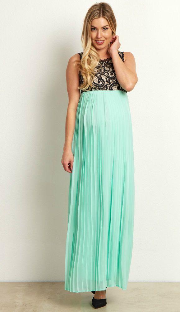 6d27e1e5d81e Mint Pleated Chiffon Lace Top Maternity Maxi Dress | BABY ON BOARD ...