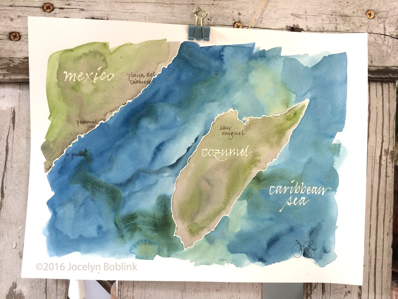 Cozumel Mexico watercolor map signed original painting