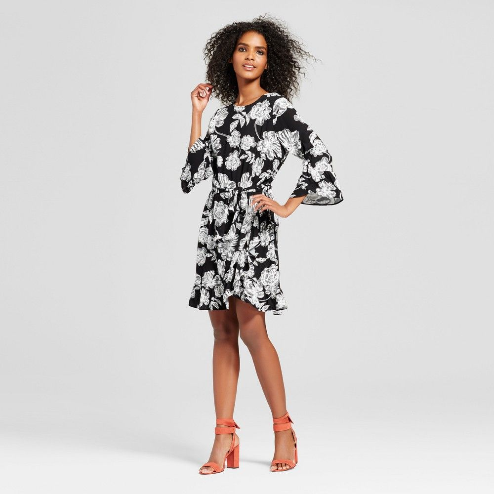 Womenus belted ruffle dress who what wear black floral xl