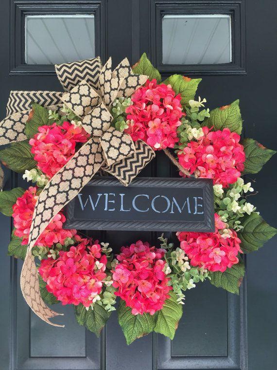 Photo of LUXE WREATH – Summer Wreath -Spring Wreath -Wreath -Pink Hydrangea Chevron Wreath -Welcome Wreath – Mothers Day Gift – Housewarming  Gift