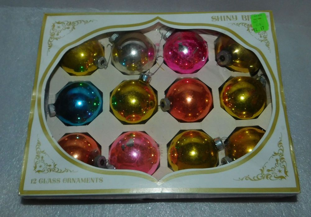 Shiny Brite Glass Christmas Ball Ornaments 12 Vintage Set 225 inch