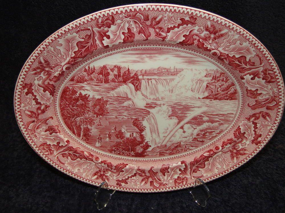 "Min Bid is only $39.99.   Johnson Brothers Historic America Pink Red Platter Niagra Falls 11 1/2"" - RARE! #JohnsonBros"