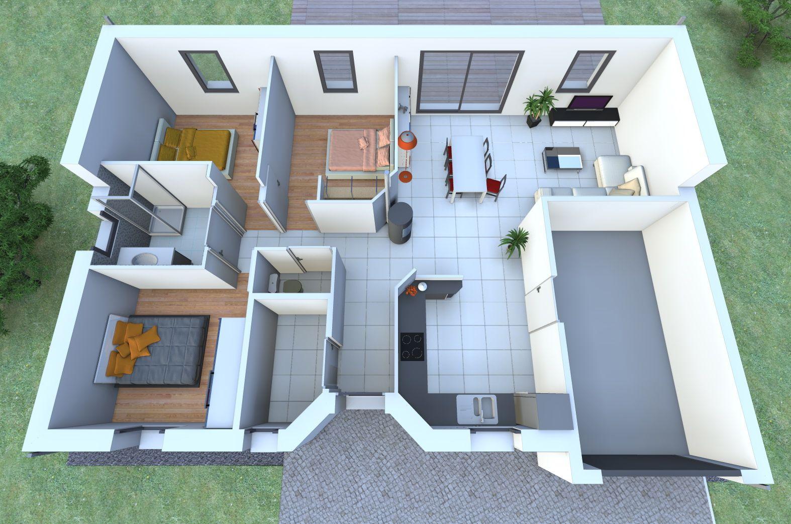 Une maison de plain pied avec 3 chambres vous fait r ver - Faire plan maison 3d ...