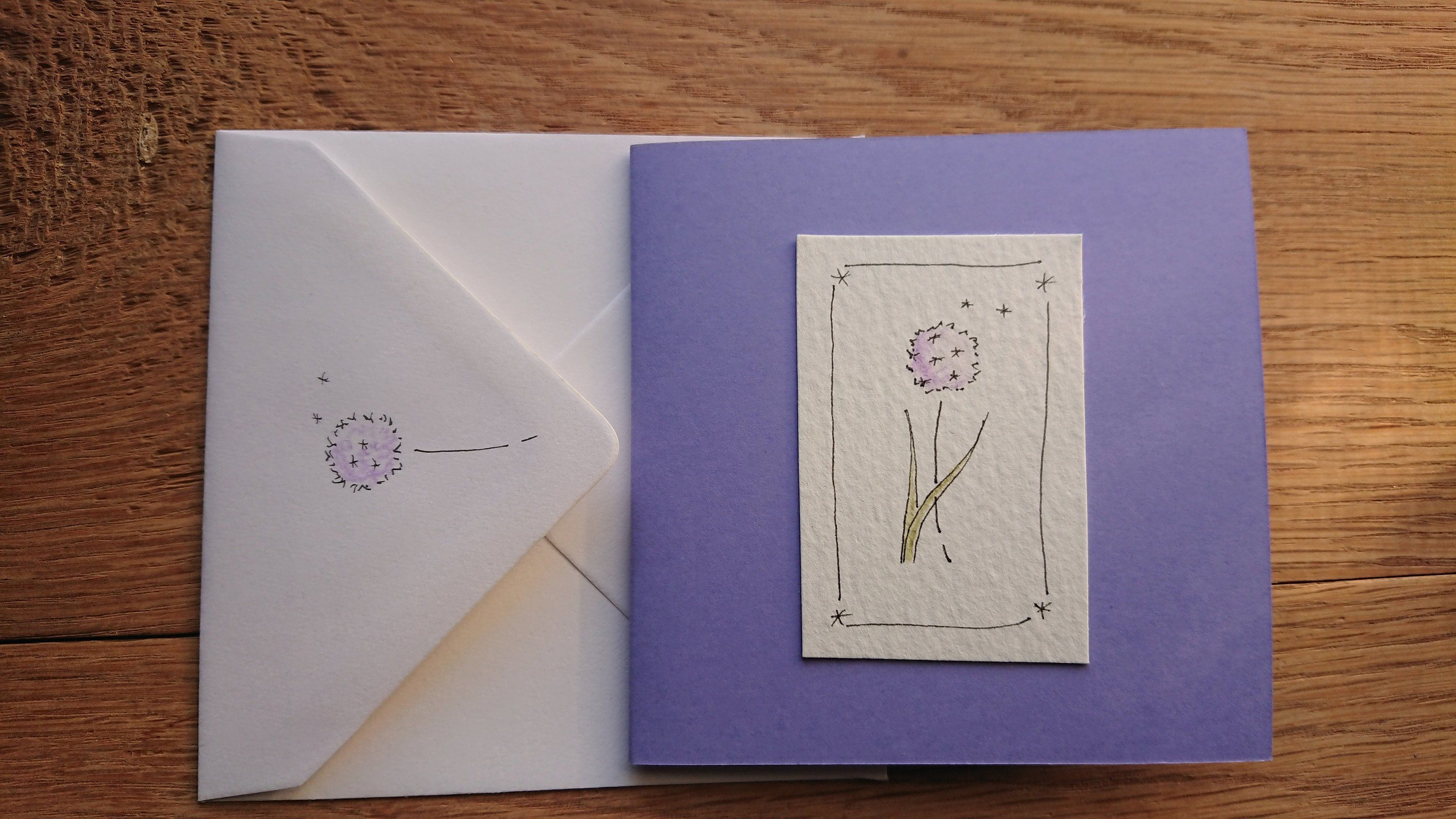 Purple Allium Greetings Card Hand Drawn Decorated Envelope