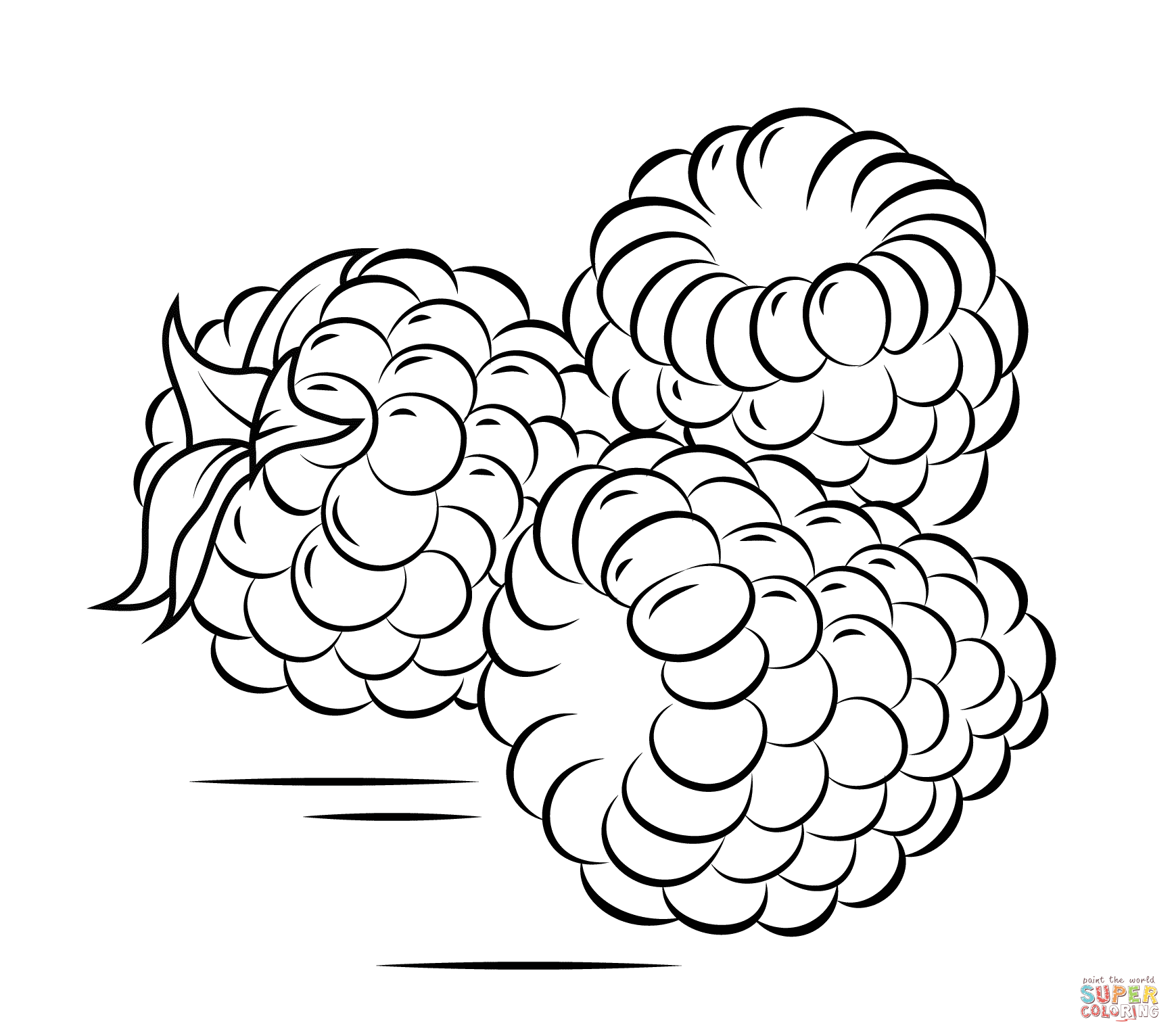 Three Raspberries Fruit Coloring Pages Bird Coloring Pages Coloring Pages