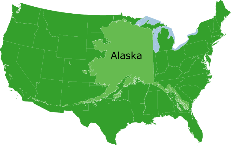 Maps on the Web Comparison of Alaska to the mainland US