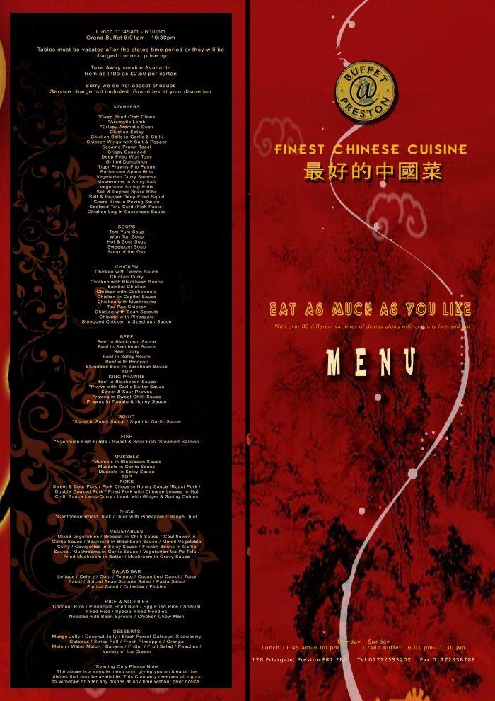 Design Proposal For Menu Card  Chinese Restaurant In Preston Uk