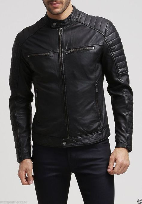Mens Stylish Motorcycle Biker Genuine Lambskin Leather Jacket 82
