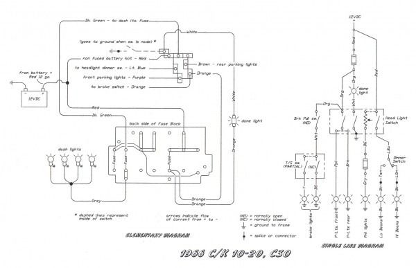 1973 chevy pickup headlight switch wiring diagram  center