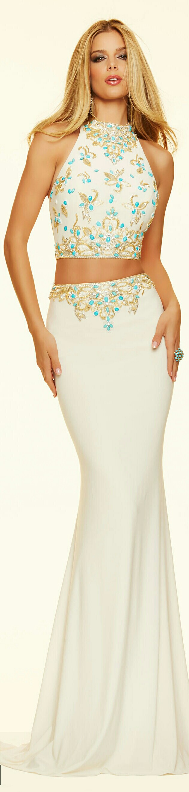 MORI LEE 2-PIECE w. Turquoise/Gold Floral Pattern in Appliques on the Belt Buckle Region of the Skirt & Bodice of the Halter Top #98004