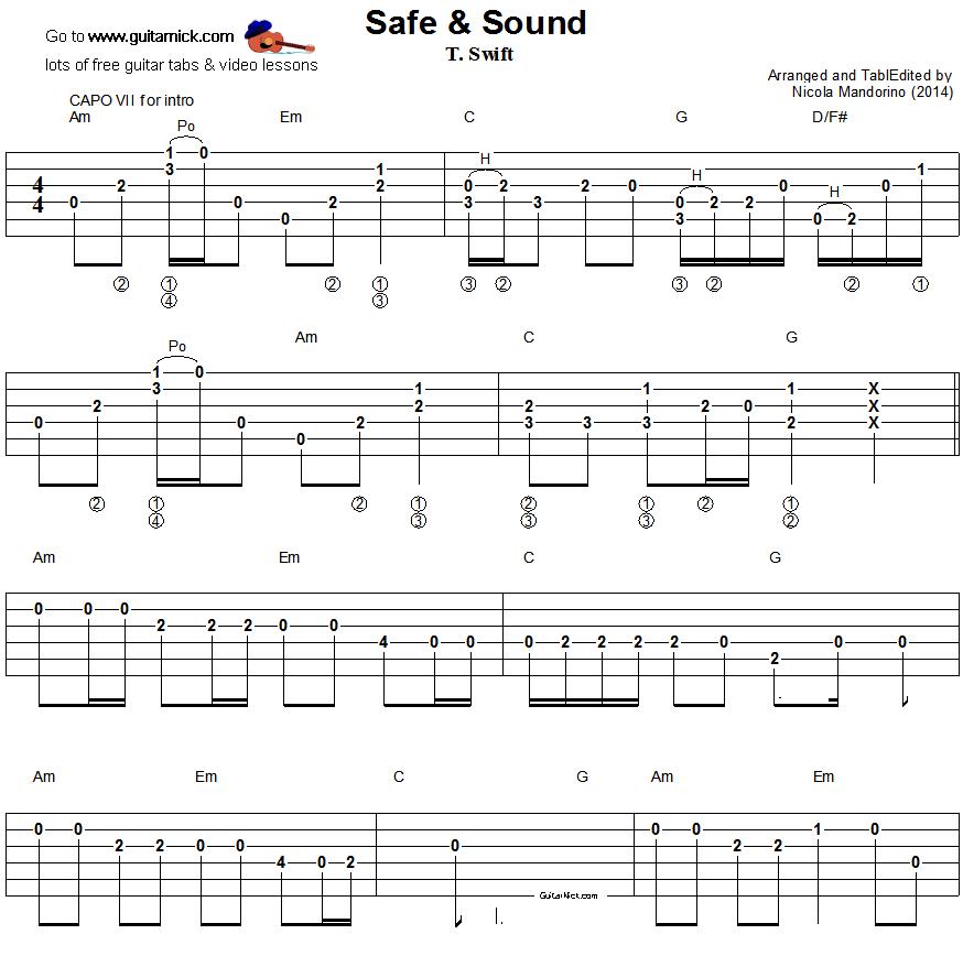 Guitar besame mucho guitar chords and lyrics : Safe & Sound - easy guitar tablature 1 | Music crafts | Pinterest ...