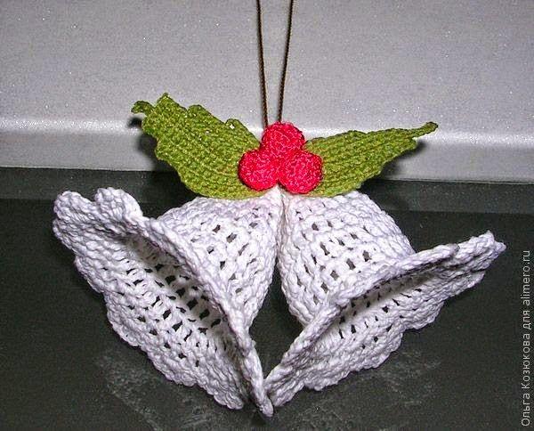 Patrones de campanas para navidad tejidas con ganchillo adornos de navidad tejidos crochet Adornos a ganchillo