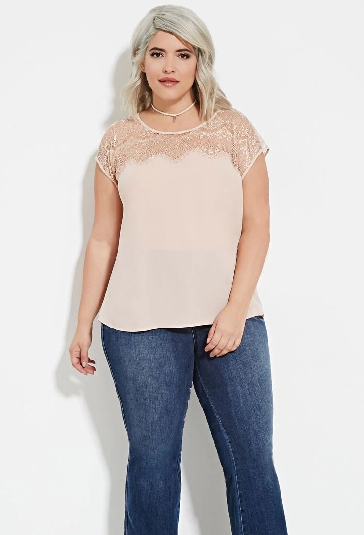 Plus Size Eyelash Lace Paneled Top | Forever 21 PLUS #forever21plus