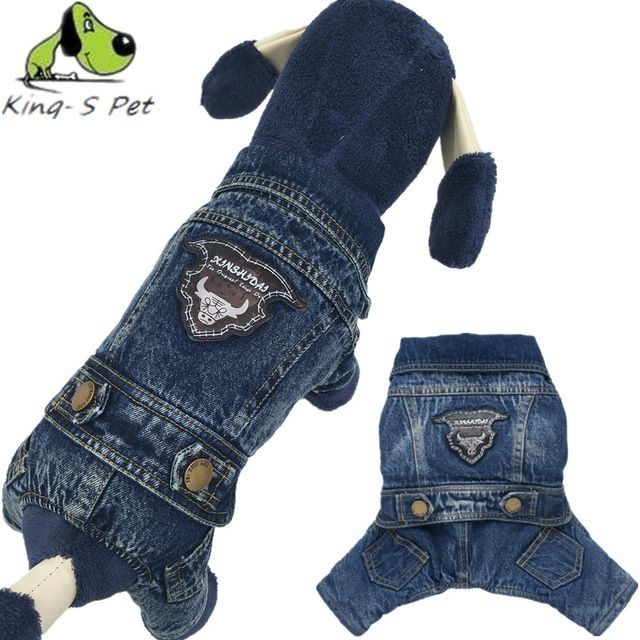 KING-S PET Cowboy Jean Dog Coat Jacket With OX Head Print Solid Costume All Seasons Dogs Clothes Coat Four Leg Clothing For Dog